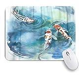 ZOMOY マウスパッド 個性的 おしゃれ 柔軟 かわいい ゴム製裏面 ゲーミングマウスパッド PC ノートパソコン オフィス用 デスクマット 滑り止め 耐久性が良い おもしろいパターン (池の水彩画でカラフルな鯉魚日本のシンボル)
