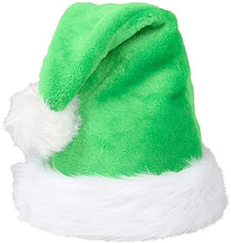 Christmas Green Plush Faux Fur Trim Santa Hat Costume Accessory