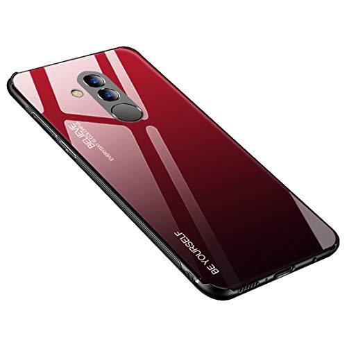Desconocido Funda para Huawei Mate 20 / Mate 20X / Mate 20 Lite/Mate 20 Pro, Borde de Silicona TPU Suave Vidrio Templado Cubierta Trasera Carcasa a los Arañazos (Huawei Mate 20 Lite, Rojo + Negro)