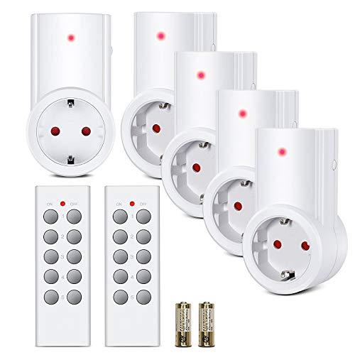 Etekcity Enchufes Inalámbricos Inteligentes con Control Remoto para Electrodomésticos, Blanco (Código de Aprendizaje, 5Rx-2Tx)