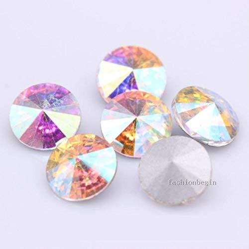 Clear ab siam Rose mix kleuren Crystal Fancy Stone Spitse achterkant glas Ronde Stenen 6 8 10 12 14 16 18mm Rivoli kralen