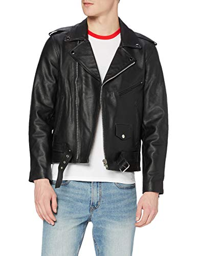 Vintage Supply Classic Oversized Leather Chaqueta, Negro (Black Black), Small para Hombre