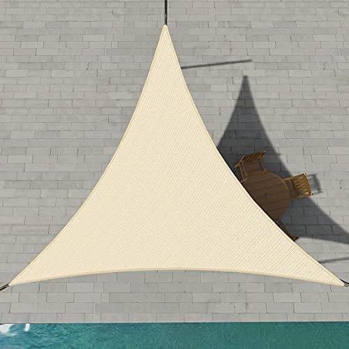 Patio Paradise 20' x20'x 20' Beige Sun Shade Sail Triangle Canopy - Permeable UV Block Fabric...
