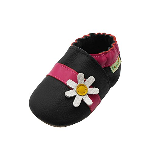 SAYOYO Baby Cute Flower Soft Sole Leather Infant Toddler Prewalker Shoes (Black,18-24 Months)