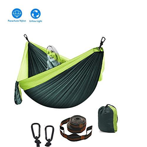 Hamaca Para Acampar 2 X Mosquetones Premium, 2 X Eslingas De Nylon Hamaca De Camping Nylon Portátil Paracaídas Ideal Para Viaje Jardín, Camping ( Color : Dark green+light Green , tamaño : 260*140cm )