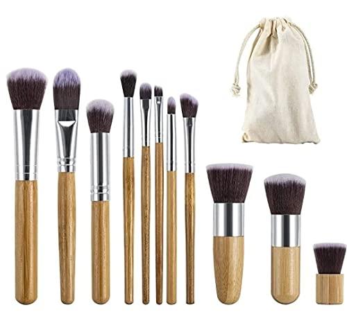 Moon and Back Brochas de Maquillaje de Bambú Ecológicas Naturales Set de 11 Piezas; Juego de Pinceles para aplicar Maquillaje en Polvo de Pelo Sintético (Suaves, Correctores en...