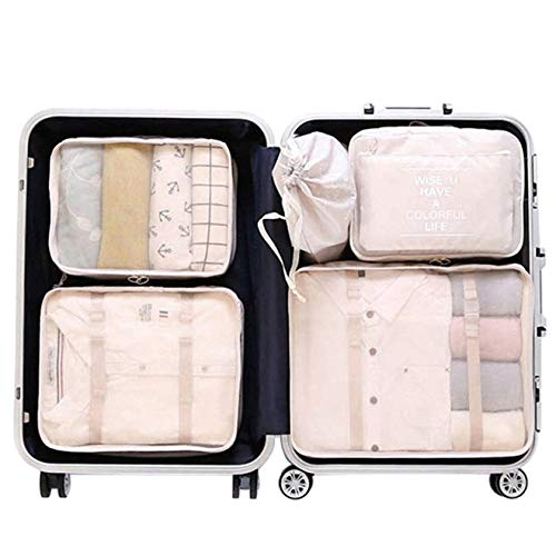 Packing Cubes, Mossio 6 Set Durable Compression Travel Organizer with Laundry Bag Beige