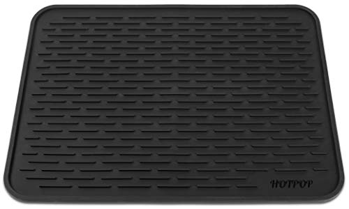 """HOTPOP XXL (24""""x18"""") Super Sturdy Silicone Dish Drying Mat and Trivet, Dishwasher Safe, Heat Resistant, Eco-Friendly (Black)"""