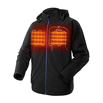 ORORO Men s Heated Jacket with Detachable Hood and Battery Pack  Black/Blue M