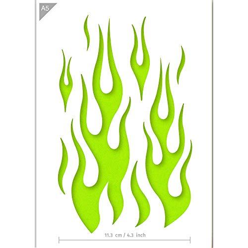 QBIX Flamme Schablone - Feuer Schablone - A5 Größe - Wiederverwendbare Kinder freundlich DIY Schablone für Malerei, Backen, Handwerk, Wand, Möbel