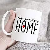 Taza de caf con texto en ingls 'Make Yourself at Home', regalo de inauguracin de la casa, taza de caf bonita, regalo para mam, regalo para padre, familia, taza para el hogar