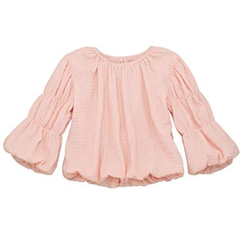MAYOGO Ropa Manga Linterna Niña Camiseta Bebe Niña Otoño 12 Meses Ropa Bebe Dulces Color sólido Ropa de Hilo para Bebes Chicas Blusa 1-5 años