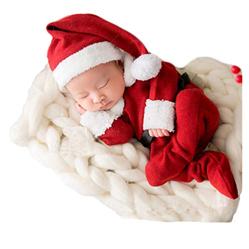 Christmas Newborn Baby Photo Shoot Props Outfits Crochet Clothes Santa Claus Red Hat Footed Rompers Photography Props