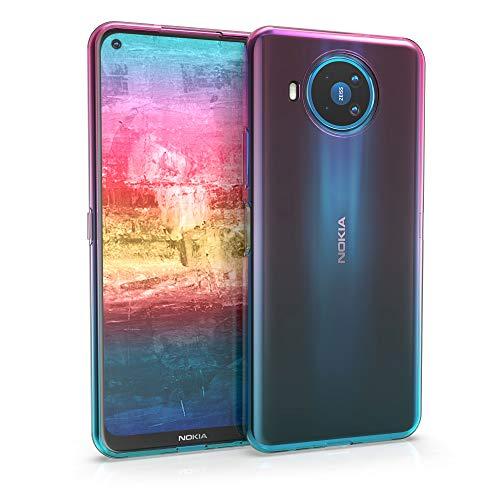 kwmobile Hülle kompatibel mit Nokia 8.3 - Handyhülle - Handy Hülle Zwei Farben Pink Blau Transparent
