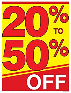 20 Percent to 50 Percent Off (%) Sale Window Sale Sign Posters Retail Business Store Signs (P15 - 22