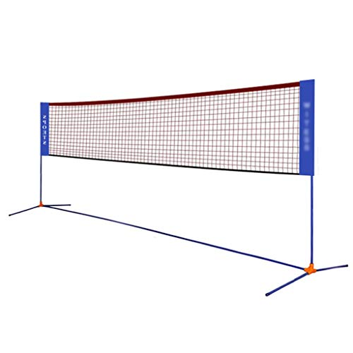 Qazxsw Badminton-Netz, Diagonal Kreuz Tragbare Badminton Net Rahmen, einfacher Klapp Mobile Standard-Net-Rahmen, für Anfänger üben,Blau,Net Width=510cm