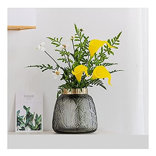 WENMENG2021 Kunstblumen Künstliche Blumenstrauß Glasvase Deko Wohnzimmer Blumenarrangement Simulation Blume Dekoration Geeignet für Hotel Esstisch und Büro Künstliche Blumensträuße (Color : Yellow)