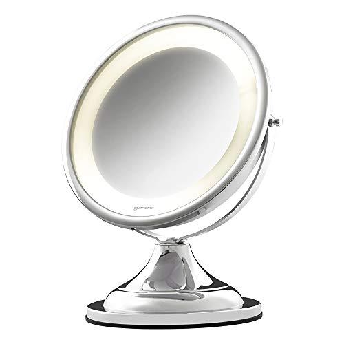 Espelho com luz e aumento modelo 10202 Cromado Brilhante