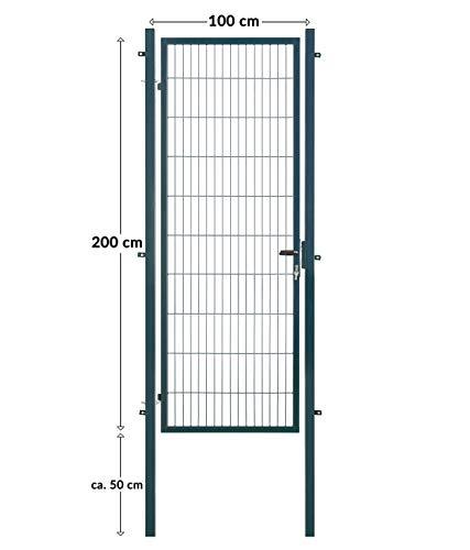 Koll Living Gartentore für Stabmattenzaun - Farbe und Höhe wählbar - inkl. Pfosten und Befestigungsmaterial (Gartentor H 200 x B 100 cm, anthrazit)