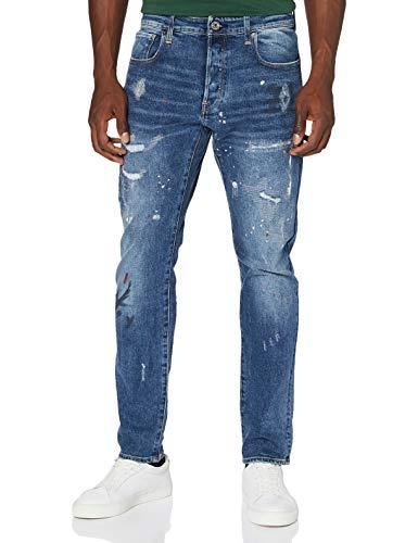 G-STAR RAW Herren 3301 Slim Fit Jeans, Sun Faded Prussian Blue Painted C052-B477, 34W / 34L