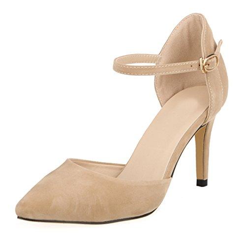DULEE Damen Strap Stiletto Heel Spitzschuh Sandalen High Heel Pumps,Aprikose 37