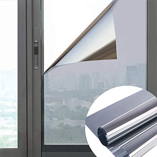All--In Spiegelfolie Selbstklebend Sonnenschutzfolie Sichtschutzfolie Fensterfolie Sichtschutz Spiegel Folie Wärmeisolierung UV-Schutz für Fenster Silber, 90 x 200cm