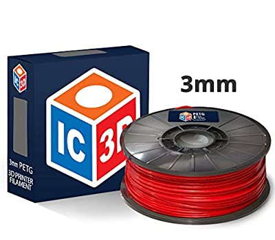 IC3D Red 3mm PETG 3D Printer Filament - 1kg Spool - Dimensional Accuracy +/- 0.05mm - Professional Grade 3D Printing Filament - Made in USA