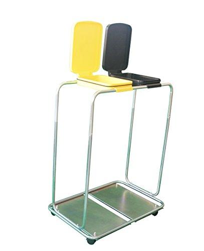 CleanMate Doppelter Müllsackständer MSS-22R mit Rädern, für zwei 70L oder 120L Säcke, Abfallsammler, Mülleimer, Abfallsackhalter, Müll-Gestell, Schwarz/Gelb