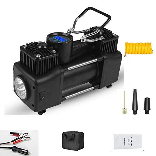 WNN-URG Portátil de doble cilindro de aire del neumático del compresor con linterna LED, 12V compacto bomba de aire for los neumáticos de coches, servicio pesado metal bomba de rueda, for SUV, Off-Roa