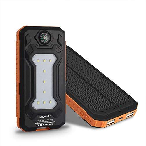 QWERDF Solar-Ladegeräte 12000Mah, Wasserdicht Beweglichen Doppel-USB-Solarbatterie-Handy-Ladegerät-Energien-Bank Für Outdoor-Camping Mit Taschenlampe,Orange