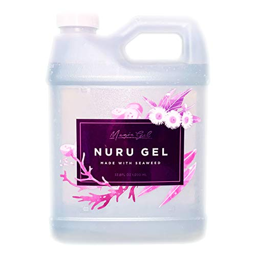 Magic Gel Nuru Massage Therapy Gel | Naturally Stain, Flavor and Fragrance Free | Ideal for Massage, Sore Muscles, Dry Skin | 33.8 Oz