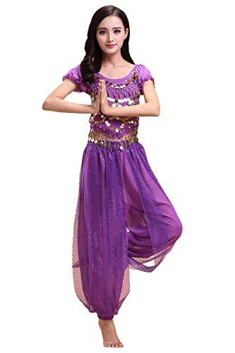 Grouptap Bollywood Indian Princess Theme Bauchtanz 2-teiliges Kostüm Set Outfit für Frauen Mädchen mit Oberteil und Hose (150-170cm, 30-60kg) (Violett)