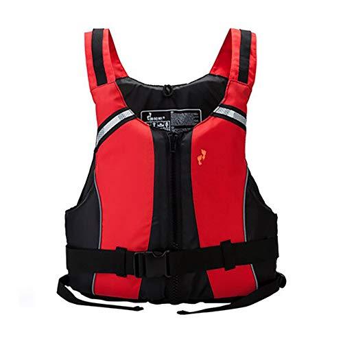 W&TT Chalecos Salvavidas para Adultos Kayak Flotador Chaleco de Seguridad Ayuda para Entrenamiento de Natación con Hebilla Seguridad y Cinta Reflectante para Hombres Mujeres / 65N,Rojo,L/XL