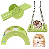3PCS Hamster Toys Set,Hamster Lovely Play Toys Wooden Rainbow Bridge, Seesaw and Swing Toys,<span class='highlight'>Small</span> Animal Activity Toys, DIY Hamster Cage Accessories for <span class='highlight'>Small</span> Pets