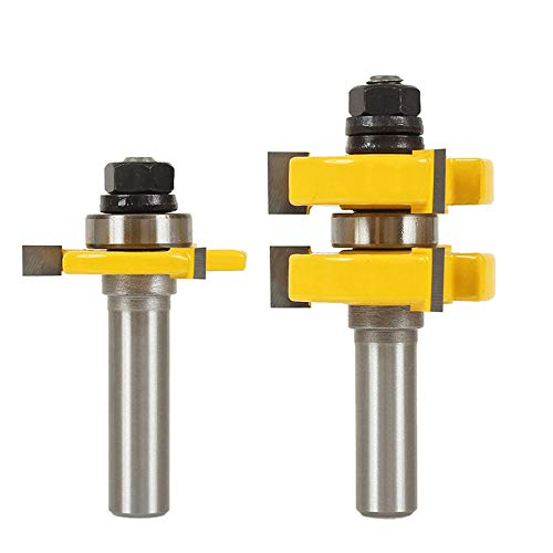 "Yakamoz Adjustable Tongue and Groove Router Bit Set with 1/2 Inch Shank, 1-1/4"" Stock Woodworking Cutting Milling Tools"