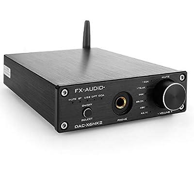 FX-Audio DAC-X6 MKII Bluetooth 5.0 Digital Audio Decoder DAC Amp 24-bit/192kHz USB/Coaxial/Optical Headphone Amplifier Mini HiFi Pre-Amplifier Black by Kguss