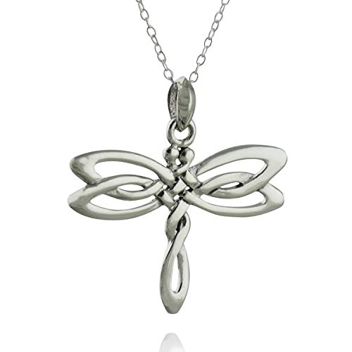 Sterling Silver Celtic Knot Dragonfly Pendant Necklace 18' Chain