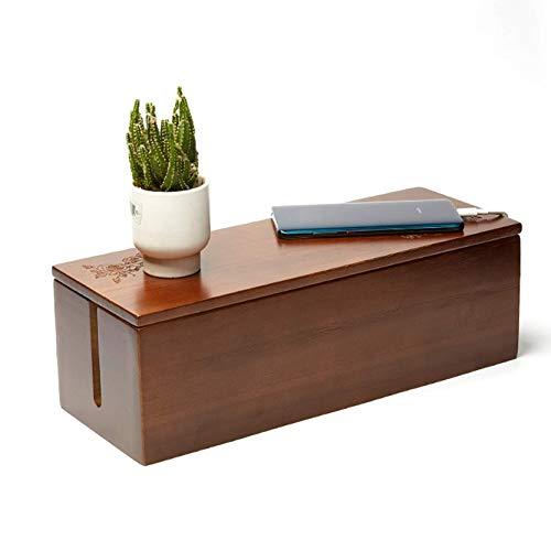 XCJJ Caja de almacenamiento de enrutador wifi de madera, caja de almacenamiento...