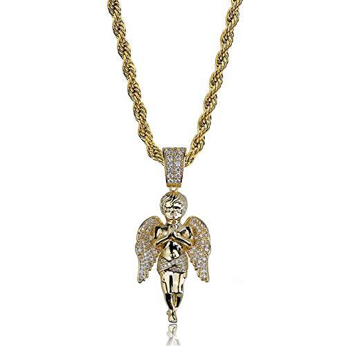 WTZWY Collar Colgante de ángel de Mano de oración Hip Hop - Micro-Incrustaciones de circón Ice out 18K Collares chapados en Oro para Mujeres Hombres, joyería de Hipsters de Moda