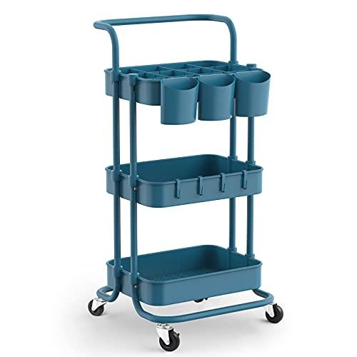 alvorog Rollwagen mit 3 Ebenen, Aufbewahrungswagen küchenwagen mit mit 3 Aufhängebecher & 4 Haken, Küchenrollwagen mit Rollen, Servierwagen mit 2 Bremsen für Büro, Rolling Cart Navy Blau