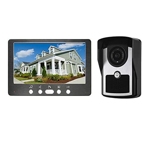 Timbre con video, intercomunicador, sistema de entrada con cable, videoportero, teléfono, desbloqueo del visor de la puerta, cámara de visión nocturna + monitor de 7 pulgadas