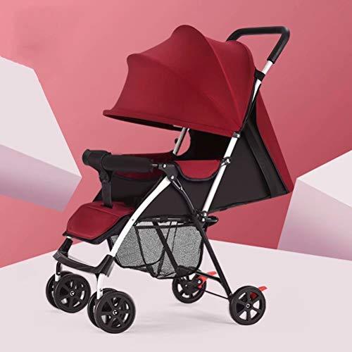 YLLXX Leichtgewicht-Kinderwagen Kinderwagen Kleinwagen 360 Grad schwenkbare Vorderradkinderwagen rot