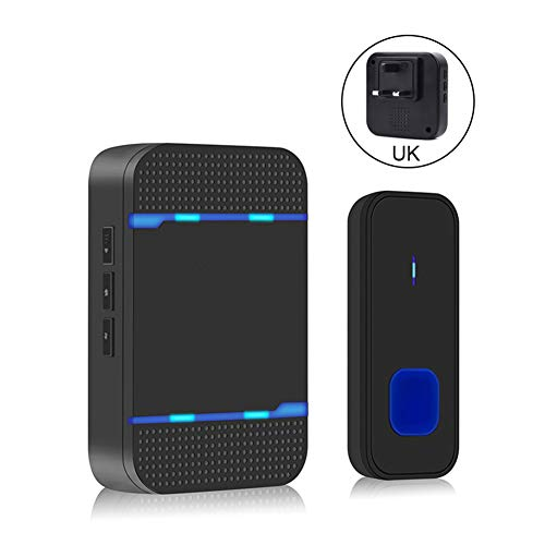 Yimixz - Doorbell inalámbrico impermeable de 5 niveles, volumen de 55 canales, larga distancia con LED para el hogar, Enchufe británico., One For One