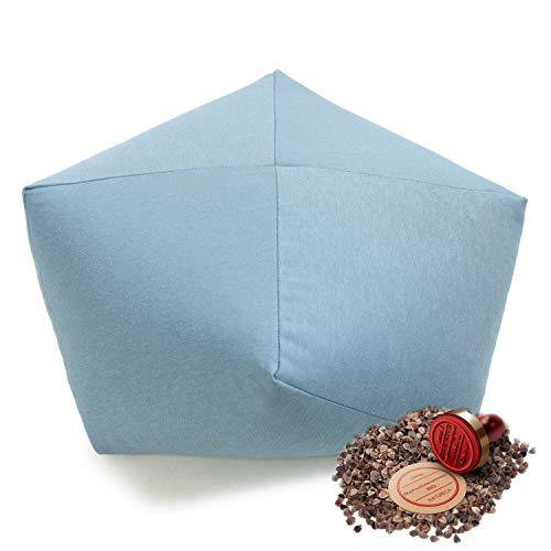 NATURECA Coussin Meditation Coussin Yoga (zafu) Rembourrage de Sarrasin Bio, Housse Lavable - Hauteur D'assise 15 cm Ø40cm - Coussin De Sol - Rond - Pouf (Bleu)