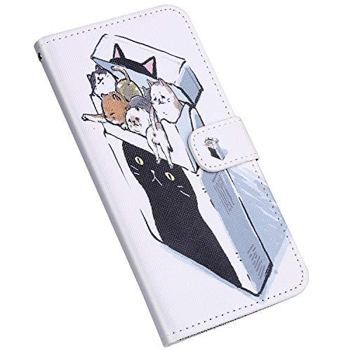 Jinghuash Funda Compatible con iPhone 6 Plus/6S Plus Libro de Cuero Impresión con Tapa y Cartera Elegante PU Leather Carcasa Tarjetero Soporte Plegable,Gato Caja