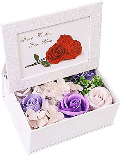 Jabones de flores de rosas perfumadas en caja de marcos de fotos Jabón de rosas Flores artificiales para el día de San Valentín, el día de la madre, la boda de cumpleaños - Púrpura