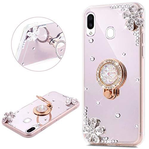 JAWSEU Compatible avec Samsung Galaxy M20 Coque Silicone Glitter Strass Diamant Miroir Bague de Support,Luxe Mode Cristal Clair Fleur Miroir Etui SoupleTPU Gel Téléphone Coque Bumper Case,argent