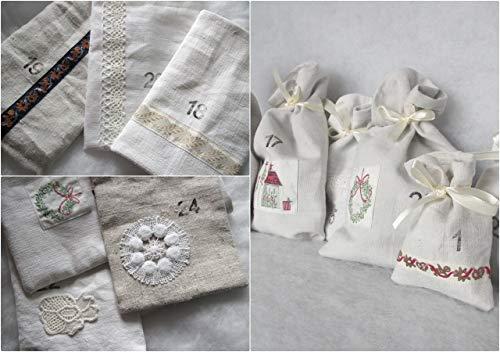 Adventskalender Leinen, handgewebt (100 Jahre alt) mit Borten und alte Spitze, Geschenk für Frau 24 Säckchen