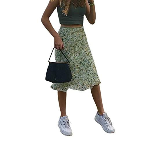 L&ieserram Gonne Longuette a Vita Alta da Donna Gonne Longuette in Chiffon Stampato Floreale Bohemien Gonna Longuette a Trapezio Estivo Sreetwear (Green, Small)