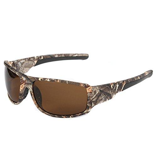 BEESCLOVER Gafas de sol de deporte al aire libre con montura de camuflaje para hombre, para pesca, caza, bote, polarizado, marrón